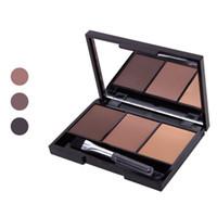 палитра теней для бровей оптовых-Wholesale New Hot Selling 3 Colors Set Women Makeup Eyeshadow Palette Eyebrow Eye Shadow Powder Cosmetic