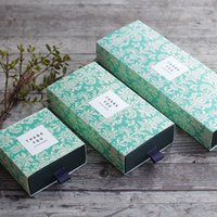 Wholesale Wedding Food Boxes - Fresh Water Paisley Green Shading Drawer Packing Box Ornaments Candy Handmade Soap Square box for Wedding Birthday Christmas Gift