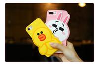 Wholesale Duck Iphone Cover - KISSCASE 3D Cartoon Rabbit Bear Duck Animal Case For iPhone 6 6S 7 7 Plus Soft Silicone Cover For iPhone 7 Plus 6 6S Plus Coque