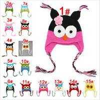 Wholesale Handmade Knit Hats Kids - New Toddler Owl Ear Flap Crochet Hat Children Handmade Crochet OWL Beanie Hat kids handmade owl Knitted hat 15Color For Choose 0-2T