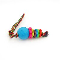 Wholesale Tpr Toys - Lovely dog face ball multi color toy rope knot cotton TPR chew safe interactive dog toy