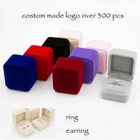 Wholesale Black Ring Boxes - High Quality Custom Made Velvet Ring Earring Box Black Velvet Inside Multiple Colors 20 OPP Bag 880 Carton