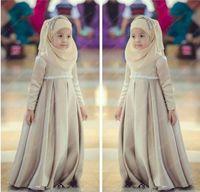 Wholesale Muslim Graduation Dresses - Long Sleeveless Satin A Line Floor Length Muslim Wedding Dress For LiTTLE Girl Flower Girl Dresses Kid Formal Wear