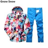 Wholesale Colorful Pants For Women - Wholesale- Gsou Snow colorful snowboard jacket and pant ski jacket for women mountain skiing suit female veste ski femme mujer jas vrouwe