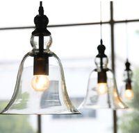Wholesale vintage glass hanging lamps - Modern Bell Shape Glass Bell Pendant Light Glass Material Hanging Lamp Edison Vintage Lamp Decor For Dining Room Home Lighting LLFA