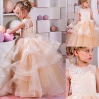 Wholesale Princess Peach Birthday - Lace Applique Flower Girl Dresses for Wedding Tiered Peach Princess Tutu Girls Pageant Dresses Vintage Child First Communion Dress