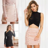 Wholesale Pink Bodycon Skirt - 2017 Fashion Summer Short Suede Skirts Black Pink Mini Bodycon Skirt Laced Women Pencil Dress FS3010