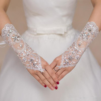 Wholesale Wedding Gloves Fingerless - 2018 Short Lace Bride Bridal Gloves Wedding Gloves Beaded Crystals Wedding Accessories Lace Gloves for Brides Fingerless Below Elbow Length