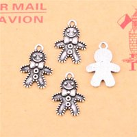 Wholesale Christmas Craft Charms - 144pcs Tibetan Silver Plated gingerbread man cookies christmas Charms Pendants for Jewelry Making DIY Handmade Craft 18*12mm