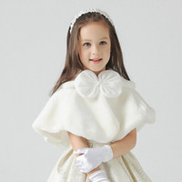 Wholesale Princess Cloak Coat - Baby Infant Girls Fur Winter Warm Coat Cloak Jacket Thick Warm Clothes Baby Girl Cute bow princess dress accessories
