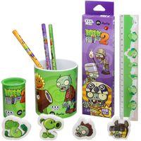 Wholesale Kids Novelty Pencils - Wholesale-Plants VS Zombies Stationery Set 5Pcs Cute Cartoon Novelty Gift Box Pencil Sharpener Pencil Pen Holder Ruler for Kids Children