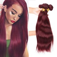 düz kırmızı saç uzantıları toptan satış-9a brezilyalı bordo saç 3 adet çok ucuz saf renk # 99j bakire saç ipeksi düz örgüleri işlenmemiş şarap kırmızı insan saç uzatma