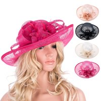 Wholesale Sinamay Wide Brim - Ladies Stylish Philippines Floral Sinamay Floral Grace Wedding Church Wide Brim Formal Hat Cocktail Party T120