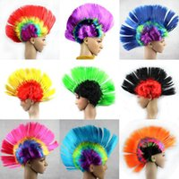 erkek sentetik perukalar toptan satış-Kadın Erkek Mohawk Sentetik Saç Moda Mohican Hairstyle Kostüm Cosplay Punk Parti Peruk Cadılar Bayramı Noel Ücretsiz Nakliye için