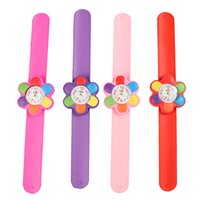 Wholesale Wholesale Child Ring Pink - Children Watch Digital Slap Watch Cute Flower Slap Watches for Kids Flap Ring Watch for Baby Girl Boy Gift Toy