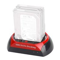 station base großhandel-Großhandels-EU bequemes 2.5 Zoll 3.5 Zoll IDE SATA USB 2.0 Doppel-HDD-Festplattenlaufwerk-Docking-Station-Basis-Unterstützungsfestplatte Kann auf Lager!