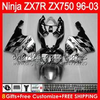 ingrosso nero ninja d'argento-8Gifts 23Colors Per KAWASAKI NINJA ZX7R 96 97 98 99 00 01 02 03 18NO49 nero Argento ZX750 ZX 7R ZX-7R 1996 1997 1998 2001 2002 2003 Carena