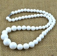 Wholesale Natural White Agate Necklace - 6-14 mm tower chain Natural stone precious agate chalcedony necklace handmade necklace fashion Women Fashion Jewelry Accessories