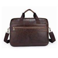 Wholesale 12 Laptop Shoulder Bag - YUNAI Men's Leather Laptop Bag Brown Briefcase Handbag 14 Inch Business Travel Shoulder Messenger Bag Notebook Computer Bag