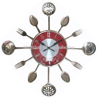 Wholesale Large Fork Spoon - Wholesale-18Inch Large Decorative Wall Clocks Metal Spoon Fork Kitchen Wall Clock Cutlery Utensil Creative Design Home Decor