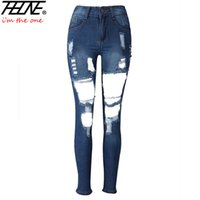 Wholesale Vaqueros Woman Sexy - Wholesale- 2017 Summer Ripped Jeans for Women Denim Pants Mid Waist Torn Big Hole Long Trousers Vaqueros Mujer Sexy Skinny Jeans Women