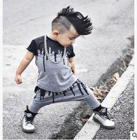 Wholesale Baby Boys Clothes Skulls - Skull Printed Baby Boy Kids T-shirt + Pants 2Pcs Outfits Ins Clothes Boys Clothing Set Baby Boys Clothes Boutique Clothing