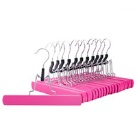 Wholesale Scarf Clips Wholesale - Pink Wooden Solid Hangers, Non Slip Collection Pants Hanger for Pant, Skirt and Trouser, Hair Extension Hanger