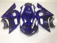 Wholesale motorcycle plastic yamaha r6 - Motorcycle plastic fairings for Yamaha YZF R6 98 99 00 01 02 blue fairing kit YZFR6 1998-2002 OT43