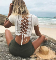 Wholesale New Club Bodysuits - 2017 summer new women Crop Top fashion Lace-up Floral Back Bow V-neck shorts bandage tops Hollow Lace club bodysuits tshrits
