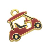 Wholesale Shaping Carts - Hot Fashion Handmade Cute Alloy Enameled Golf Cart Shape Charm For DIY Making Jewelry