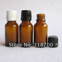 Wholesale 15ml Plastic Bottles Blue - 15ml glass essential oil bottle with plastic cap cosmetic packaging, essential oil container Perfume Sample Tubes Clear Vials for clear blue
