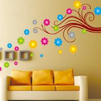 flor de arte mural al por mayor-Flor pegatinas de pared dormitorio decoración calcomanía removible Wallpaper Mural pegatina para niños sala de sala de estar adhesivo decorativo