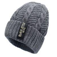 Wholesale korean style beanies - 2017 Men Fashion Warm Knit Beanie Hood Male Korean Style Cool Winter Plus Thickening Inside Warm Hat Outdoor Skull Caps