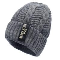 ingrosso cappello beanie stile coreano-2017 uomini moda Warm Knit Beanie Hood maschio stile coreano freddo inverno più ispessimento dentro caldo cappello esterno Caps Skull