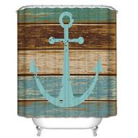Wholesale Wholesale Shower Boards - 180*180cm 3D Shower Curtains Vintage Anchor Bath Curtain Waterproof Fashion Wood Board Bathroom Shower Curtains CCA6504 50pcs