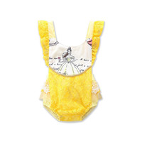 Wholesale Wholesale Onesie - Infants girls backless lace romper yellow lace splicing onesie princess printing romper for 1-3T ins hot baby summer clothing