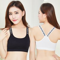 Wholesale beauty bra push up - English alphabet printing sports bra no steel ring anti-light gathering type sexy beauty back fashion girl must