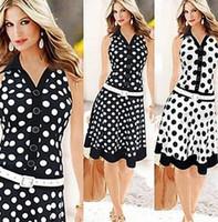vintage siyah polka nokta elbise toptan satış-Moda Kadınlar Casual Elbise Çizgili Siyah Polka Dot Şifon Bluz Düşük Bel Kolsuz Elbiseler OL Casual Suits için Zarif Zarif