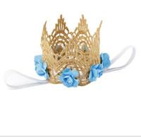 diadema mini corona al por mayor-Estilo Rose Flowers diadema corona de oro para bebé accesorios para el cabello oro MINI corona de encaje para recién nacida fotografía Prop YH547