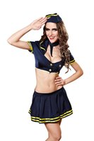 Wholesale Lingerie Sailor Costume - Sexy lingerie 2017 new style sailor suits air hostesses spice uniforms role playing stage performance costumes