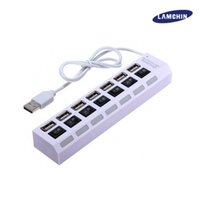 Wholesale Notebook Power Adapter Cable - 7 Ports USB2.0 Hubs with LED Switch Power Adapter Cjarger High Speed Power Cable for PC Desktop Notebook Laptop Computer with package