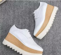 Wholesale Ivory Wedge Dress Shoes - new free shipping Stella Mccartney Stell women Shoes Italy Elyse Gold Glitter White Sole Wedge Oxford Derby Britt Platform
