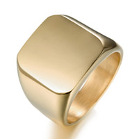 Wholesale 14k gold men ring band - New Simple Style Square Big Width Signet Mens Ring Titanium Steel Finger Multi colors Men Jewelry Fast Free Shipping