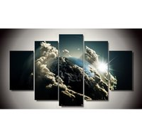 Wholesale Universe Poster - 2016 Paintings Fallout Art Design Close Planets Universe 5piece Painting Wall Decor Canvas Pictures Coloring By Numbers Grand