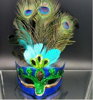 Wholesale peacock halloween costumes women resale online - Party Mask Woman Female Masquerade Masks Luxury Peacock Feathers Half Face Mask Party Cosplay Costume Halloween Venetian Mask