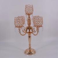 Wholesale Tall Candlesticks Wholesale - New Creative 54CM Tall Metal Gold Plated Candle Holder With Crystals Wedding Table Candelabra centerpiece Decoration Candlestick