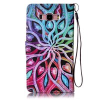 Wholesale Colorful Pu Leather Wallet - Colorful Abstract Water Design Pu Leather Flip Stand Wallet Card Slots Wrist Rope Pouch Cover Case For Samsung Galaxy J7 2016 J710 J710X