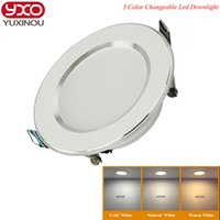 Wholesale Downlight Frame - Wholesale- 1pcs Changeable Led Downlight 5w 7w 9w 12w Ceiling Recessed Light Silver Frame 3 Color Change Warm Nature Cool White AC180-240V