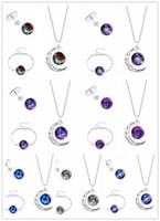 Wholesale Universe Bracelet - Women Female Necklace Bracelet Ear Studs set Universe Galaxy Pendant ChokerWristband Earrings Jewelry Gift 7 Colors