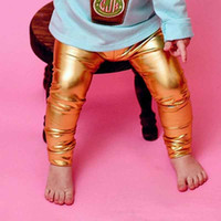 Wholesale Leather Pants For Kids - Fashion Metallochrome Elastic Baby Girls Pants Shinny Leather Tight Legging for Kids Hot Sales Spring and Autumn Europe Little Girls Pants